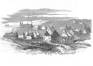 The deserted village of Moveen, parish of Moyarta, County Clare in 1849 - courtesy of the National Museum, Ireland